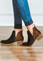 Leopard Splicing Chunky Heel Round Toe Ankle Boots - Black