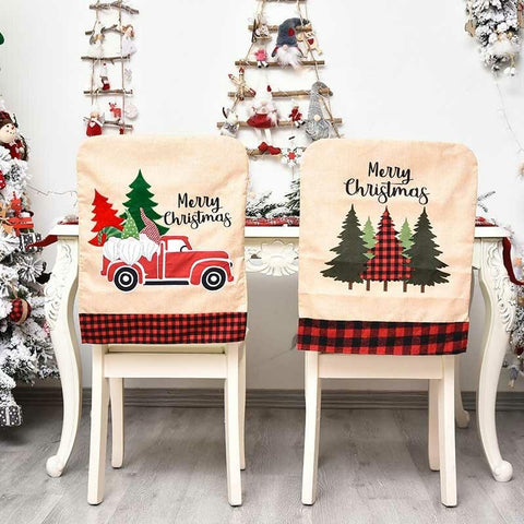 Christmas Buffalo Plaid Tree Gnomies Truck Chair Cover