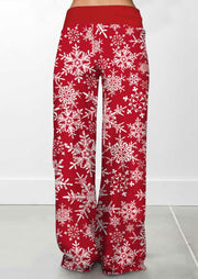Christmas Snowflake Drawstring Wide Leg Pants - Red