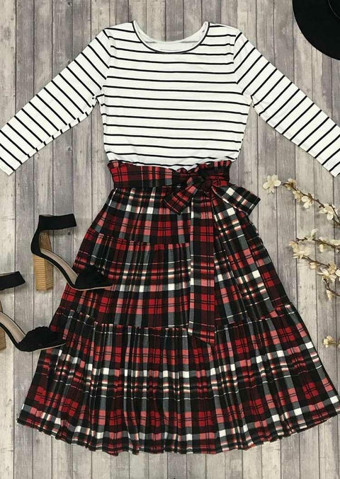 Christmas Plaid Splicing Striped Casual Dress
