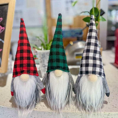 Christmas Decorative Plaid Gnomies Faceless Doll