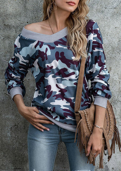Camouflage Long Sleeve V-Neck Blouse
