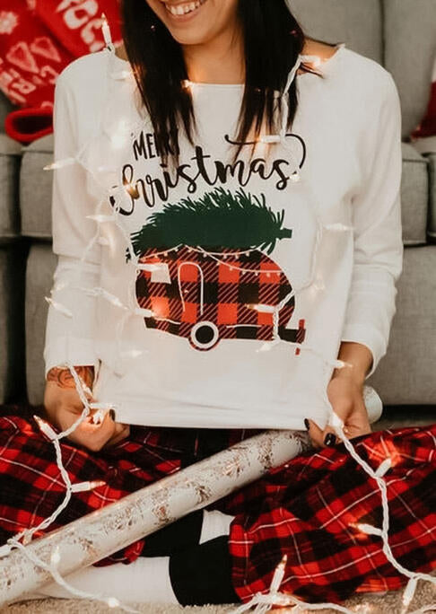 Merry Christmas Plaid Truck Raglan Sleeve Sweatshirt - White