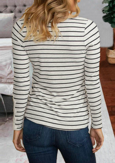 Striped Lace Button Splicing V-Neck Blouse