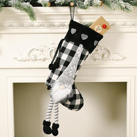 Christmas Plaid Gnome Snowflake Heart Hanging Ornament Sock