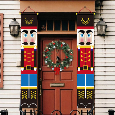 2Pcs Christmas Decoration Nutcracker Soldier Door Hanging Banners