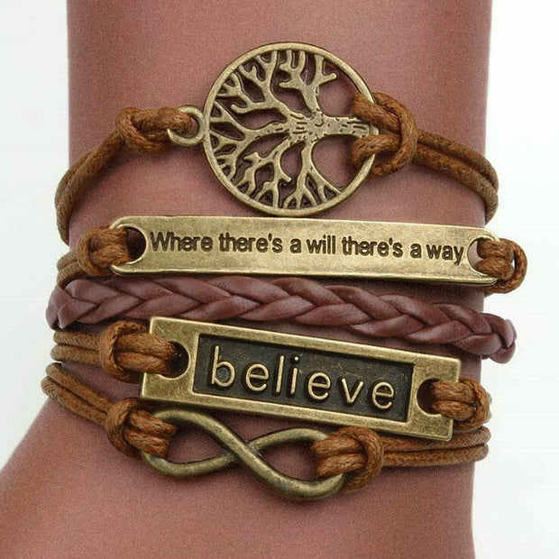 Believe Hollow Out Tree Multi-Layered Braided Bracelet