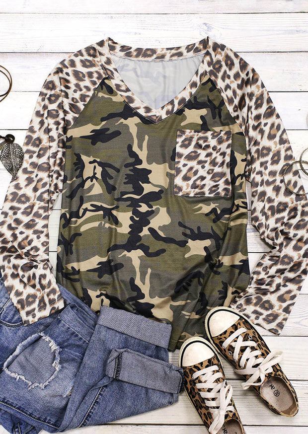 Camouflage Leopard Pocket Splicing Long Sleeve Blouse