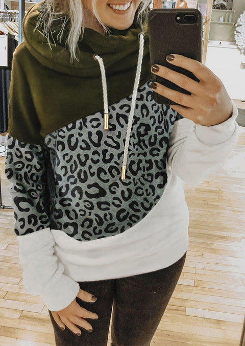 Leopard Splicing Drawstring Long Sleeve Pullover Hoodie