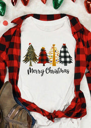 Merry Christmas Leopard Plaid Tree T-Shirt Tee - White
