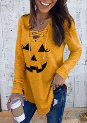 Halloween Pumpkin Face Lace Up Blouse - Yellow