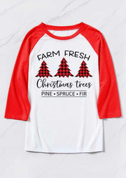 Farm Fresh Christmas Trees Buffalo Plaid T-Shirt Tee - White