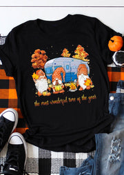 Gnomies Pumpkin Maple Leaf Wonderful Time T-Shirt Tee - Black