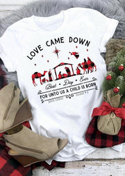 Christmas Buffalo Plaid Love Came Down Graphic T-Shirt Tee - White