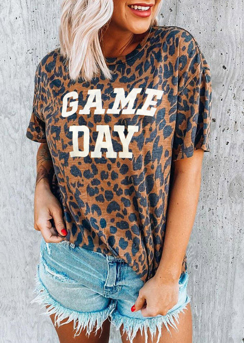 Leopard Game Day O-Neck Casual T-Shirt Tee