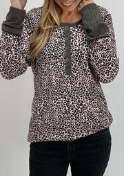 Leopard Splicing Button Long Sleeve Blouse