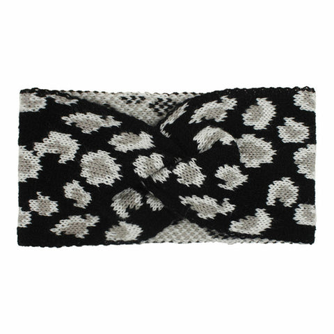 Leopard Twist Knitted Wide Headband