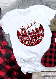 Dreaming Of A White Christmas Plaid T-Shirt Tee - White