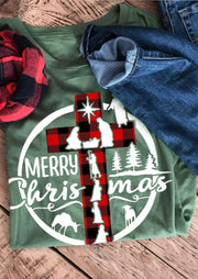 Merry Christmas Buffalo Plaid Cross Jesus T-Shirt Tee - Green