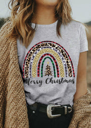 Merry Christmas Leopard Plaid Tree Rainbow T-Shirt Tee - Gray