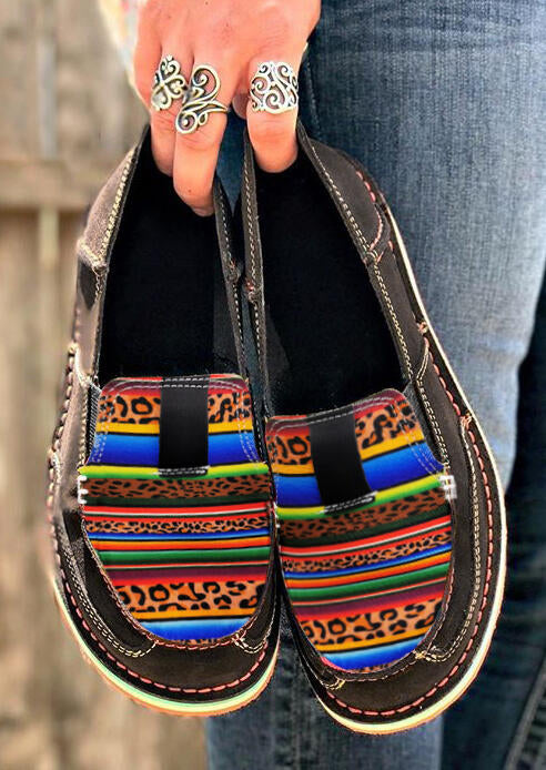 Leopard Serape Striped Slip On Flat Sneakers