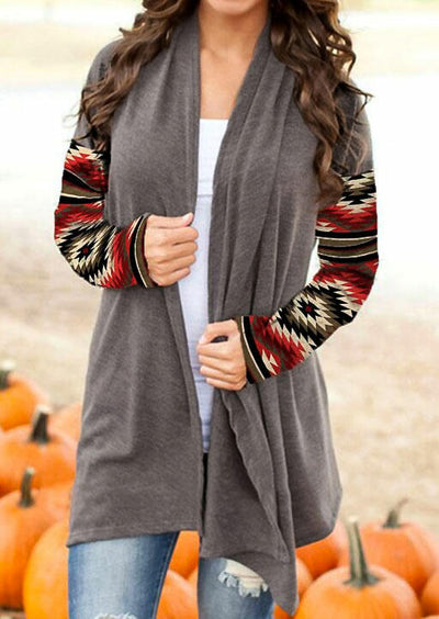 Aztec Geometric Western Cowgirl Long Sleeve Cardigan - Gray