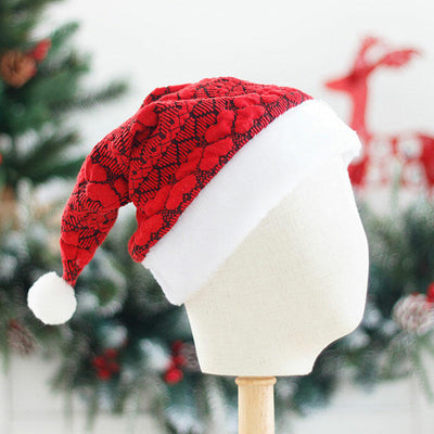 Christmas Love Heart Warm Plush Knitted Hairball Hat
