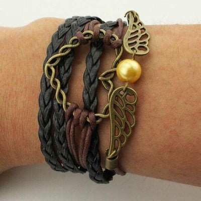 Hollow Out Heart Wing Owl Anchor Multi-Layered Braided Bracelet