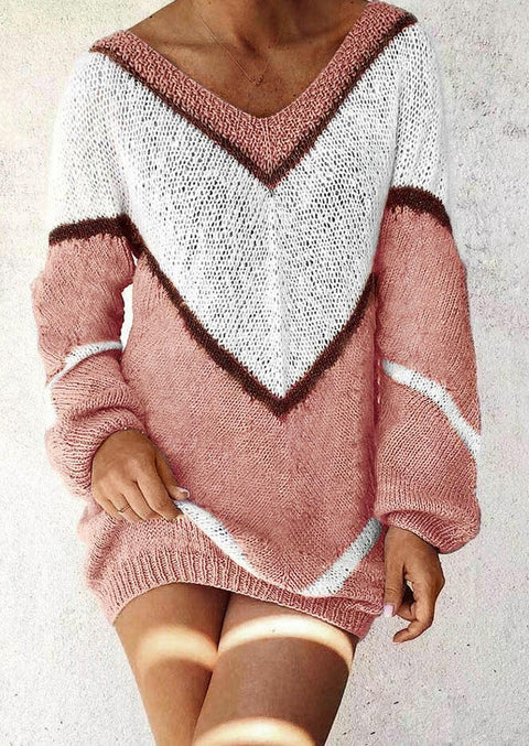Color Block Long Sleeve V-Neck Sweater
