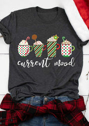 Christmas Striped Star Drink Current Mood T-Shirt Tee - Dark Grey