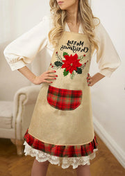 Merry Christmas Gnomies Truck Plaid Floral Pocket Apron