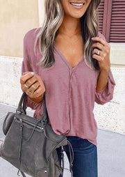 Ruffled V-Neck Long Sleeve Casual Blouse - Pink