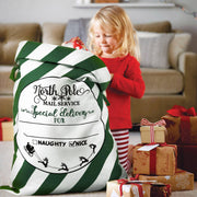 Merry Christmas Personalised Striped Canvas Santa Sack