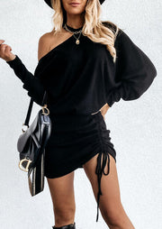 Ruched Drawstring Tie One Sided Cold Shoulder Mini Dress - Black