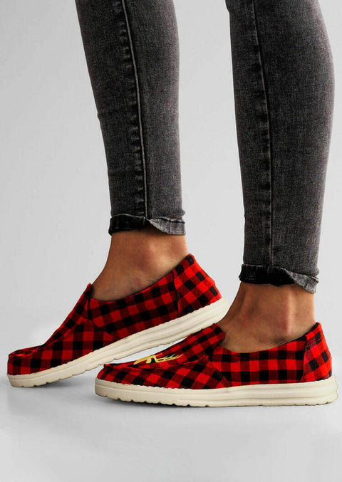Christmas Reindeer Buffalo Plaid Slip On Flat Sneakers - Red