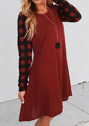 Christmas Buffalo Plaid Splicing O-Neck Mini Dress - Red