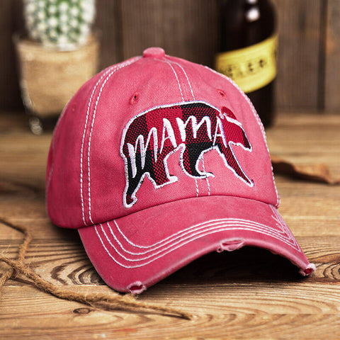 Christmas Buffalo Plaid Bear Mama Washed Distressed Twill Baseball Cap