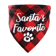 Christmas Plaid Letter Dog Paw Snowflake Adjustable Pet Triangle Scarf