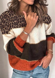 Leopard Color Block Splicing Knitted Sweater