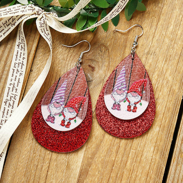 Christmas Gnomies Sequined Dual-Layered Leather Earrings