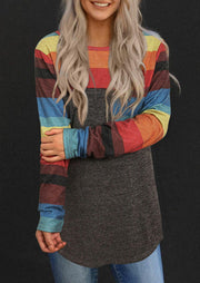 Colorful Striped Splicing Pocket Long Sleeve Blouse