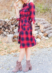 Christmas Plaid Single Breasted Pocket Mini Dress - Red