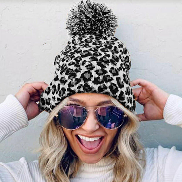 Leopard Winter Warm Knitted Hairball Hat