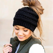 Winter Warm Criss-Cross Knitted Ponytail Beanie Hat