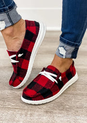 Buffalo Plaid Lace Up Round Toe Flat Sneakers - Red