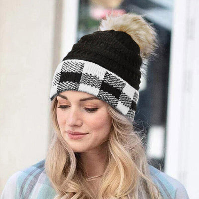Plaid Splicing Winter Warm Knitted Hairball Hat