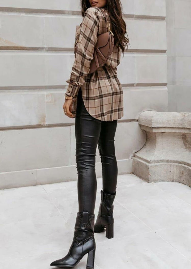 Plaid Button Pocket Slit Long Sleeve Shirt