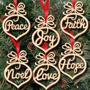 6Pcs Christmas Tree Hollow Out Wooden Word Peach Ornament