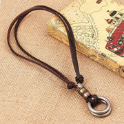 Vintage Round Pendant Leather Necklace
