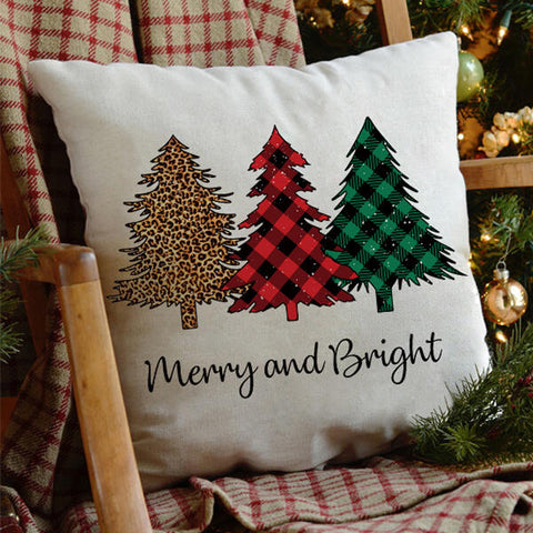Christmas Leopard Plaid Tree Gnomies Pillowcase without Pillow